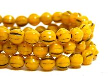 6mm Yellow Melon Round Beads Mustard Brown Picasso Fluted Czech Glass T-79D