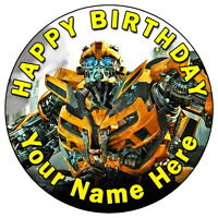 "TRANSFORMERS BUMBLEBEE - 7.5"" PERSONALISED ROUND EDIBLE ICING CAKE TOPPER"