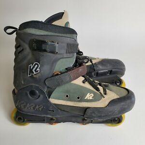Vtg K2 Fatty Backyard Bob Aggressive In-line Inline Rollerblades Skates Size 13