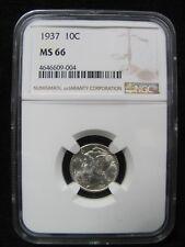 1937 Mercury Silver Dime - Ngc Ms 66