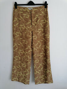 NEW &Other Stories Wheat Print High Rise Kick Flare Ankle Trousers Eur 42