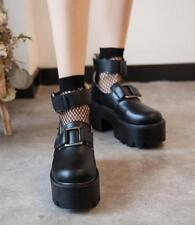 Women's Gothic Chunky Heel Ankle Strap Platform Creepers Casual Pumps Shoes Punk