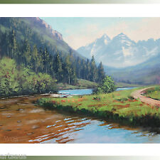 Maroon Bells Painting Mountain Landscape Impressionism by Listed Artist