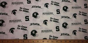 "NEW COTTON Fabric 1/4yard=9""x44"" MSU SPARTANS MICHIGAN STATE UNIVERSITY DIY MASK"