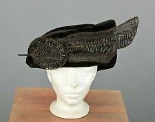 Vtg Women's Antique Teens Black Velvet Asymmetrical Hat 1910s