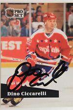 Dino Ciccarelli Washington Capitals HOF 1991 NHL Pro Set # 258 Autograph Card
