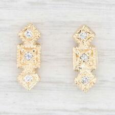 Vintage Set of 2 Diamond Spacer Slide Charms 14k Yellow Gold