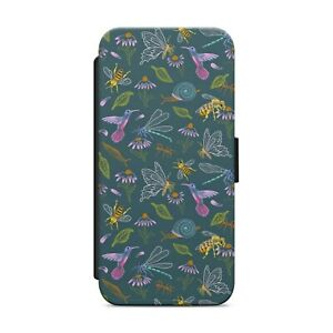BEE FLORAL PATTERN WALLET FLIP PHONE CASE COVER FOR IPHONE SAMSUNG HUAWEI    s79