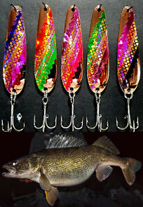 """Copper SMOOTH 3 1/4"""" Flutter Spoons  Walleye Candy .025 CFTCOS"""
