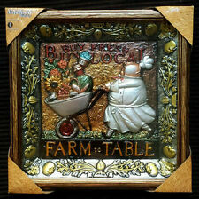 NWT FAT CHEF FARM TO TABLE BUY FRESH LOCAL METALLIC 3D WALL ART FRAME SUNFLOWER