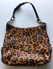 DOONEY BOURKE Black Brown Patent Leather Cheetah Leopard Print Hobo Satchel Bag