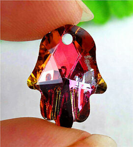 18x13x6mm Colorful Plating Titanium Crystal Carved Hand Pendant Bead AP14825
