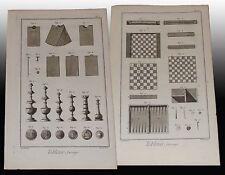 Tabletier Scacchi Dama Tric Trac Tabacchiera Diderot et D'Alembert 4 tavole 1772