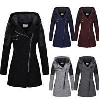 Plus Size Women Hooded Trench Coat Winter Warm Long Sleeve Jacket Padded Outwear