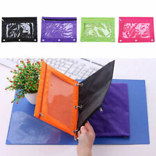 Zippered Binder Pen Pencil Pouch Case with 3 Holes Bag School Office Portable