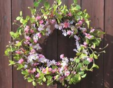 GISELA GRAHAM EASTER PASTEL FLOWER PINK BLOSSOM LEAF TWIG WREATH