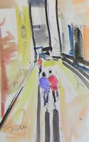 JOSE TRUJILLO ORIGINAL Watercolor Painting Impressionist Figures Walking Alley