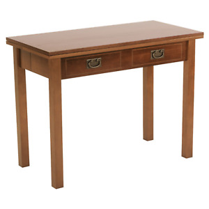 Expandable Dining Console Game Table Solid Wood Folding Seats 8 Light Brown