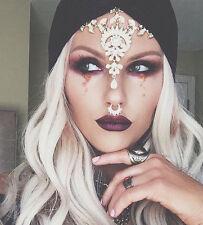 Glamorous GOLD Jewel Headpiece Matha Patti Boho Bride Queen Diamond Goddess