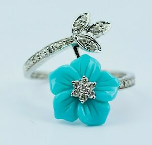 14k White Gold Hand Carved Flower Shape Turquoise W/ Round Diamond Bypass Ring