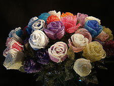 BEADED CLOSED ROSE PRETTY SPARKLE GIFT IDEA COLOUR CHOICE