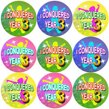 144 I Conquered Year 3 - End of Term 2nd grade Teacher Reward Stickers Size 30mm