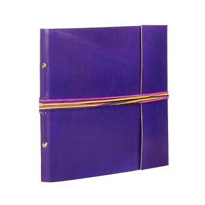 """Coloured Leather Photo Album, Purple, 30 Pages to fit 120 6x4"""" or 60 7x5"""" Photos"""