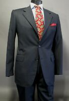 Isaia Napoli Suit 40 41R US 50 Eu Charcoal Black Pin Striped Wool 3 Btn 3/2 Roll