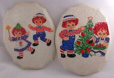 Raggedy Ann and Andy Wall Hangings Plaques Sparkle Glitter White