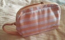 Bloomingdale's Stephanie Johnson cosmetic makeup case - pink / white stripe -NEW