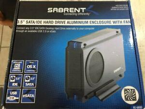 "Sabrent 3.5"" SATA/IDE Hard Drive Aluminum Enclosure With Fan"