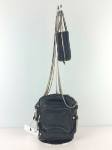 Auth ALEXANDER WANG Shoulder Bag with Chain Strap Leather Navy
