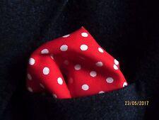 red pocket square handkerchief hanky polka dot.unisex cotton fabric SEE SHOP