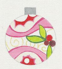 Pink Ornament w/ Holly handpainted RD. Needlepoint Canvas by Raymond Crawford