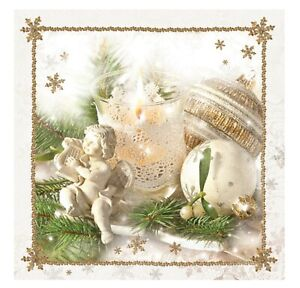 Napkins for Decoupage Christmas LUXURY Decorations Angel 33x33cm 3PLY 20 Pack