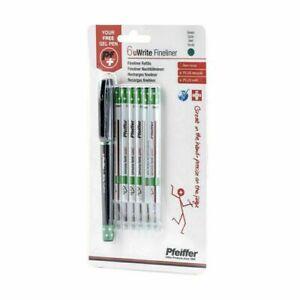 Refills Green for Pfeiffer uWrite Fineliner, 6 Refills + 1 FREE Pen. PFHF111