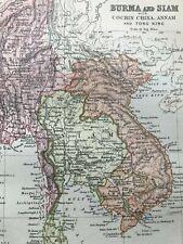 1904 Burma and Siam Original Antique Matted Map Southeast Asia Vietnam Thailand