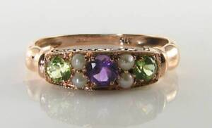 SUFFRAGETTE 9K 9CT ROSE GOLD AMETHYST PERIDOT PEARL ART DECO INS RING FREE SIZE