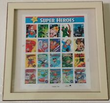 Framed Super Heroes 20 Stamps Mint Sheet Chapter One .39 Cent Wall Decor 2005