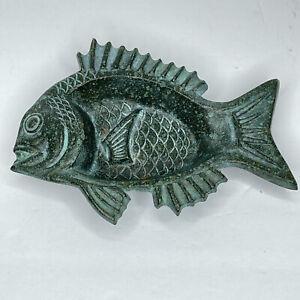 Vintage Cast Iron Piranha Fish Ashtray Dish Mid Century Modern Nautical Ocean