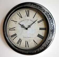 Wanduhr wall clock Metall Glas Vintage Shabby Edinburgh London England Ø38cm