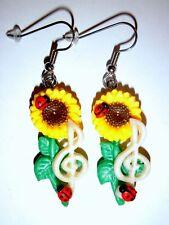 Ohrringe Sonnenblumen Notenschlüssel Musik Damen Ohrschmuck Modeschmuck Fimo
