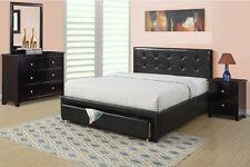 Modern Black 4 Piece Bedroom Set Full Bed Mirror Dresser Nightstand Headboard