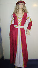 Ladies Tudor Lady Medieval Renaissance Maid Marion Fancy Dress Costume 14 USED**