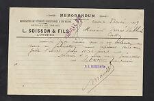 """AUXERRE (89) USINE de CONFECTIONS VETEMENTS & TISSUS """"L. SOISSON & Fils"""" en 1909"""