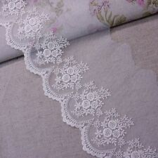 Pretty Scalloped Edge Floral Cotton Embroidery Lace Net Tulle 13cm Wide 1yard
