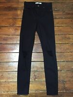 Topshop Moto Skinny Jeans Jamie Ripped Black Size 8 W26 Fit L34 UL17