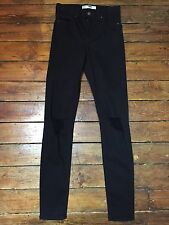 Topshop Moto Skinny Jeans Jamie Ripped Black Size 12 W30 To Fit L34  117#