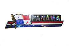 PANAMA LONG COUNTRY FLAG  METALLIC BUMPER STICKER DECAL .. 11.75 X 3 INCH