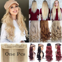 Real Thick Natural One Piece Clip In Hair Extensions Full Head Brown Blonde FO3